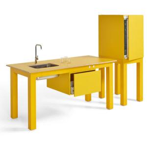 Zok is het modulair pantry systeem van Lande. De basis van Zok is het solide metalen frame met modern werkblad.