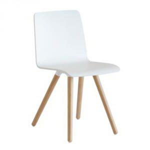 Pit Vepa stoel wit 4 poots hout houten zitkuip comfort leslokaal kantoor teamwerkplek wachtkamer zitoplossing