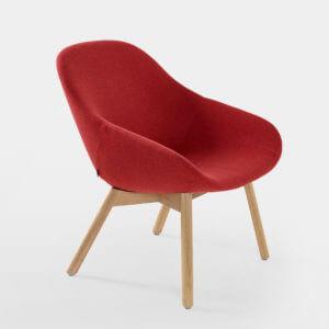 Artifort_Beso_Lounge_B04_03H Artifort Beso lounge fauteuil rood 4-poots houten onderstel design