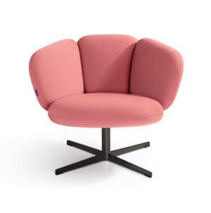 Bras Easy Chair Artifort Brad Highback roze designer Khodi Feiz ontspannen 4-poot gepoedercoat RVS