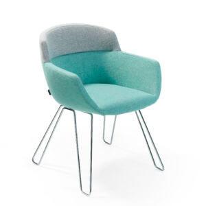 MOA_P00_01H low Artifort Mood René Holten stoel design grijs blauw flexibel kuipstoel draadframe onderstel verchroomd