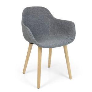 Crassevig Pola Round kuipstoel designstoel houten 4-poots onderstel kantinestoel wachtkamerstoel conferentieruimtes grijs