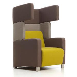 RedStitch Level zakelijke fauteuils Level 5 verschillende elementen oorfauteuil akoestische werking akoestiek grijs voorkant