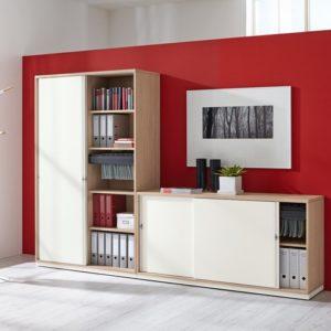 bueroschrank-prisma2-sideboard-2-900 opbergruimte kast jaloeziedeurkast Moderne architectuur kastensysteem akoestisch laatjes draaideuren