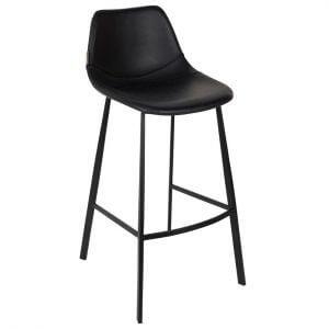 Dutchbone Franky barkruk zwart 4-poots onderstel zwart leren zitting bedrijfsrestaurant kantine