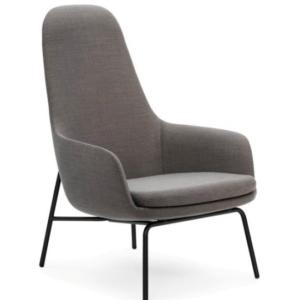 Era Lounge Chair High grijze stoffering en zwart stalen onderstel
