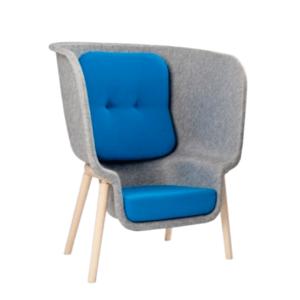De Vorm Pod akoestische hoge bezoekersstoel blauwe kussens