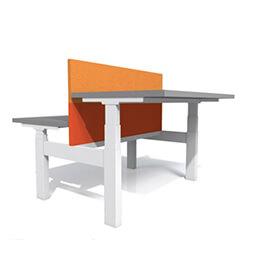Dunk zit-sta bureau duo werkplek Cowerk oranje tussenscherm