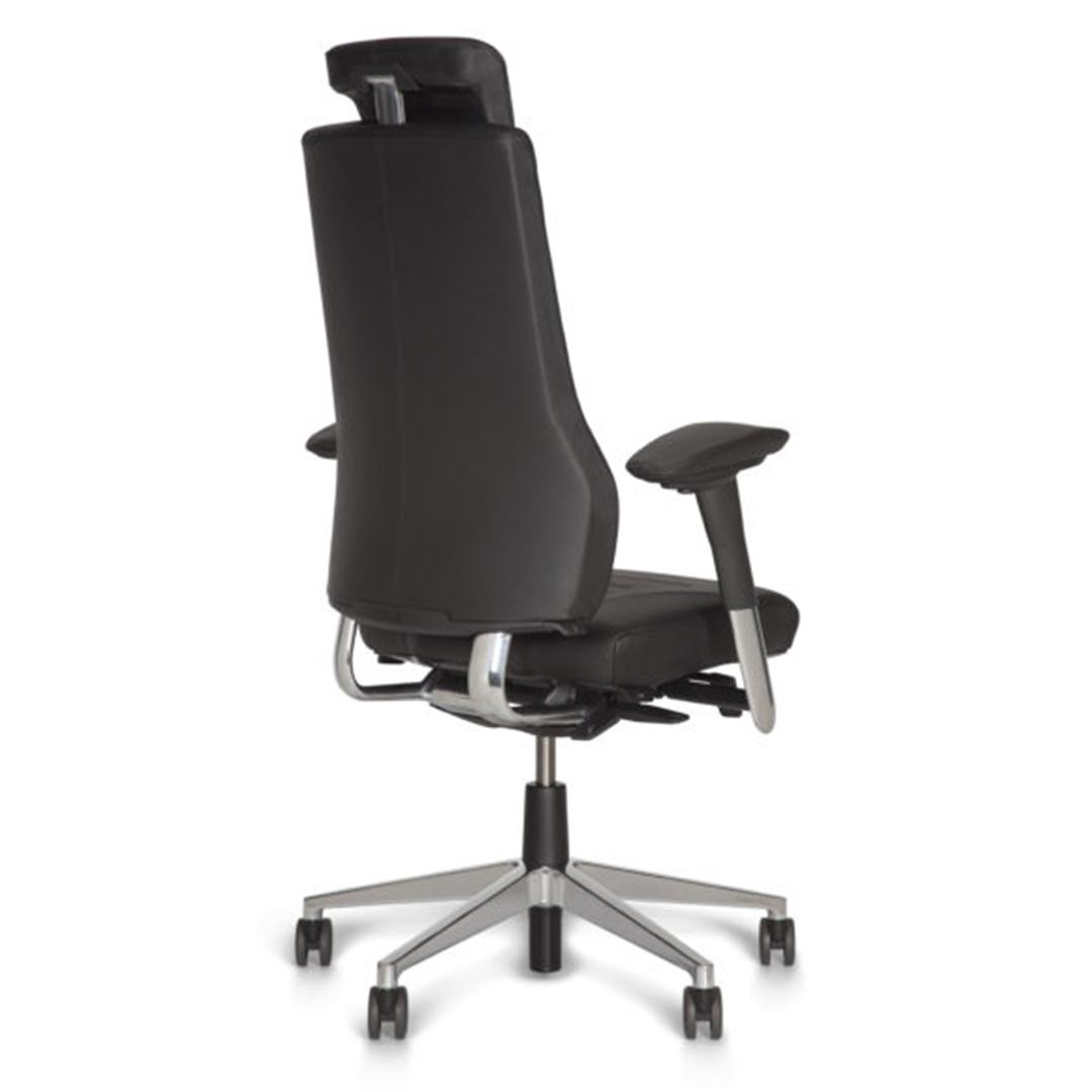 Axia Vision 24/7 bureaustoel voor dealingrooms, 24/7 receptiewerkplekken, callcenters meldkamers, zwart met hoofdsteun, achteraanzicht
