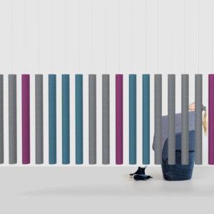 Soundsticks Offecct akoestische oplossingen roomdivider 100 procent afval hangend