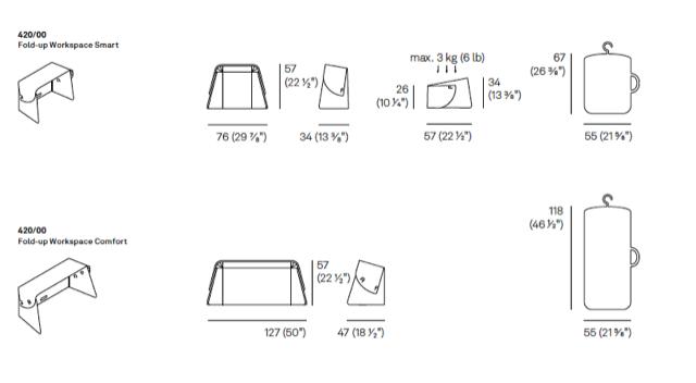 Maatvoering Fold-up Workspace