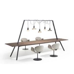 Dock Lande leestafel vergadertafel met lampen ijzeren frame kantoor